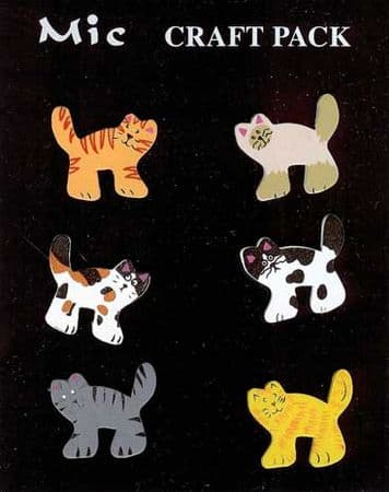 6 Shaped Wooden Cat Toppers for Crafts
