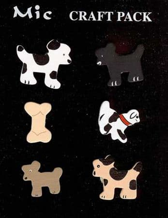 6 Shaped Wooden Dog Toppers for Card Making