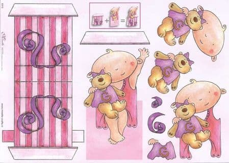 Baby Girl Stand Up 3d Decoupage Sheet