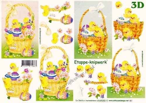 Chicks in Baskets With Easter Eggs 3d Decoupage Sheet from Le Suh