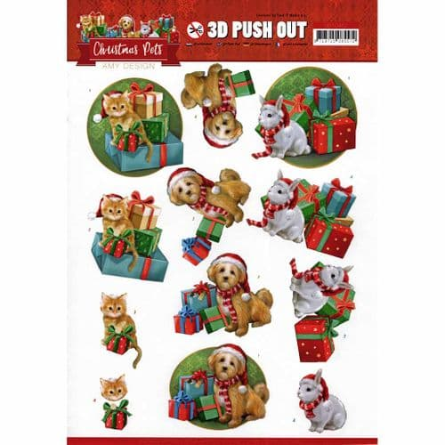 Christmas Pets with Gifts - Amy Designs 3D decoupage Die Cut Sheet