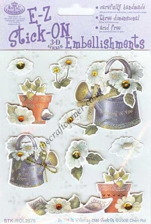 Daisies & Watering Cans 3d Sticker Embellishments