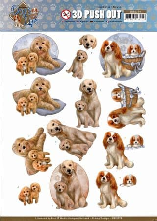 Dog's Life Mummy and Pups- Amy Designs 3D decoupage Die Cut Sheet