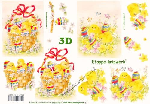 Easter Fluffy Yellow Chicks, Daffodils & Decorated Eggs 3d Decoupage Sheet from Le Suh