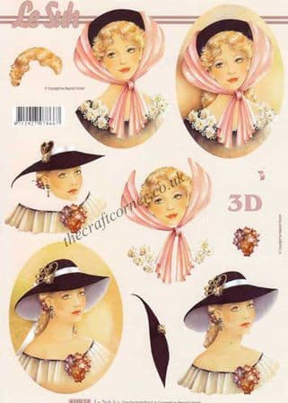Elegant Lady In Hat With Flowers 3d Decoupage Craft Sheet