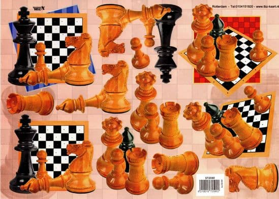 Embossed Chess Pieces Designs 3d Decoupage Sheet
