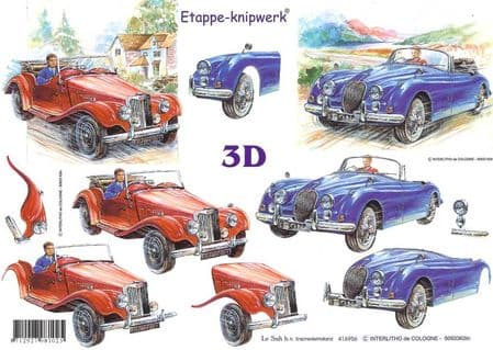 Fast Car 3d Decoupage Sheet