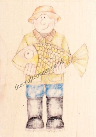 Fisherman Jolly Nation Wooden Rubber Stamp