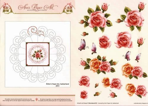 Flower Border Embroidery On Paper with Pink Rose Flowers 3d Decoupage Sheet