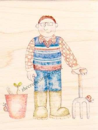 Gardening Man Jolly Nation Wooden Rubber Stamp