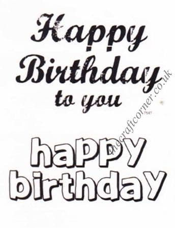 Happy Birthday 2 Clear Unmounted Rubber Stamps by Dovecraft