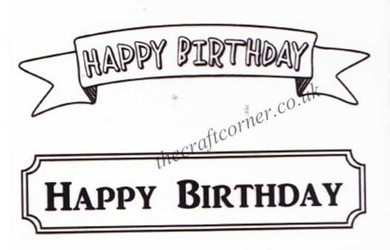 Happy Birthday Banners 2 Clear Unmounted Rubber Stamps by Dovecraft