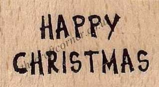 Happy Christmas Wording Wood Mounted Rubber Stamp