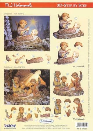 Hummel Children in the Nativity 3d Decoupage Sheet by Reddy
