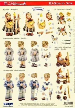 Hummel Children Praying 3d Decoupage Sheet by Reddy