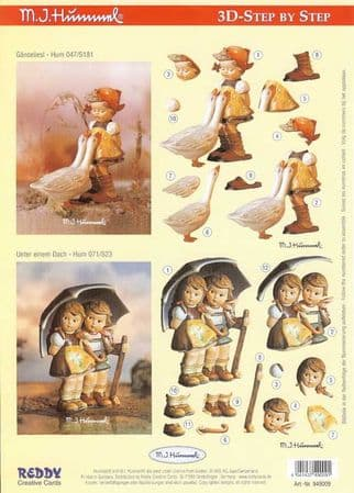 Hummel Children With Geese & A Very Large Umbrella 3d Decoupage Sheet by Reddy