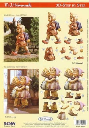 Hummel Girls Going To School 3d Decoupage Sheet by Reddy