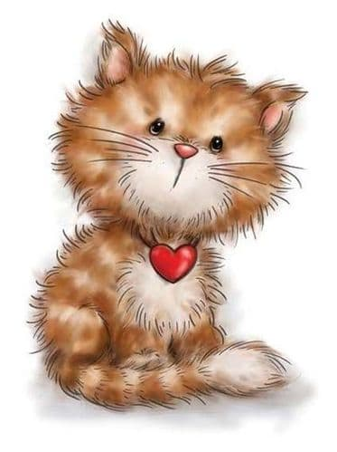 Kitten With a Love Heart Unmounted Clear Rubber Stamp From Wild Rose Studio