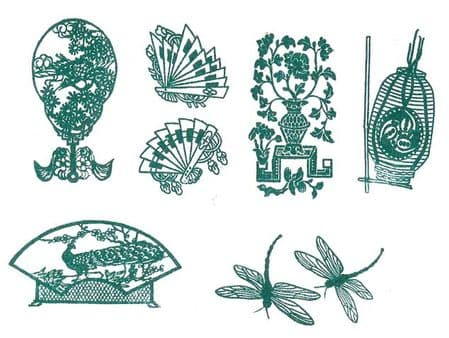 Oriental 81 Clear Rubber Stamp 6 Pack & Acrylic Block