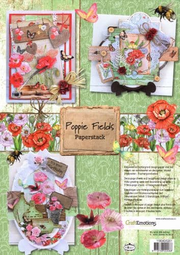 Poppy Fields Paperstack by CraftEmotions - Cutting Required.
