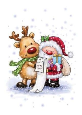 Santa & Rudolph Unmounted Clear Rubber Stamp From Wild Rose Studio