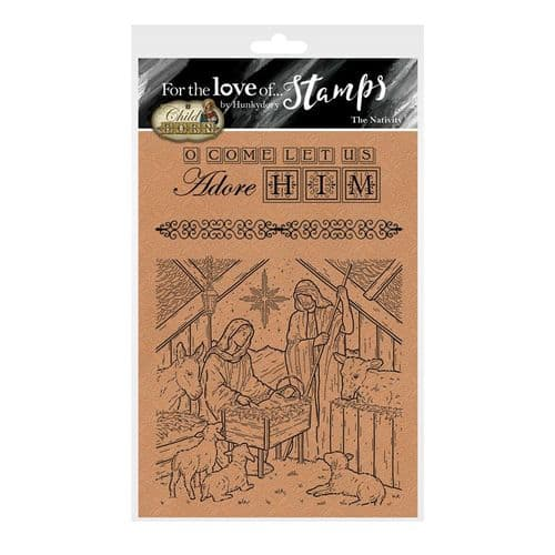 The Nativity & O Come Let us Adore Him Clear Rubber Stamps by Hunkydory Crafts
