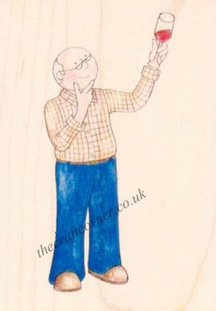 Wine Man Paper Nation Wooden Rubber Stamp