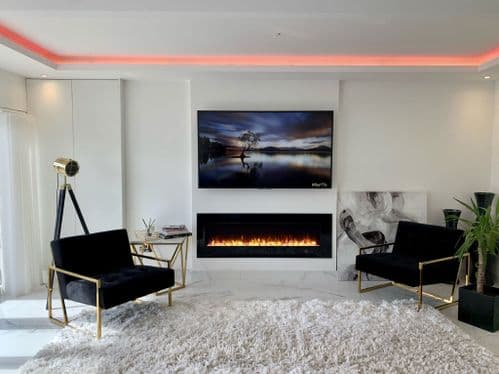 Aurora 50 Inch LED Black Flush / Wall Mounted BRANDED Electric Fire -With Remote