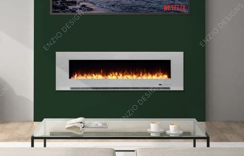Aurora 60 Inch LED White Flush / Wall Mounted BRANDED Electric Fire -With Remote