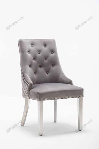 Chelsea Light Grey Velvet Studded Lion Head Dining Chair
