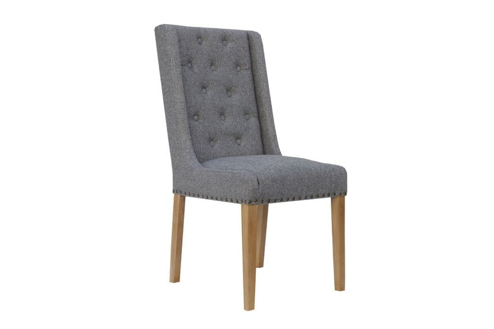 Button Back Studded Dining Chair (Light Grey)