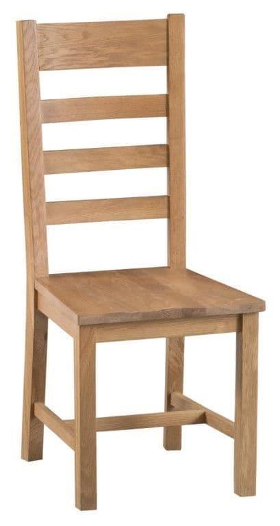 Country Oak Ladder Back Chair Wooden Seat