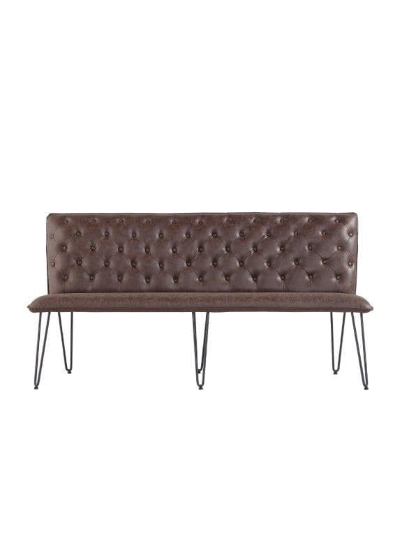 Eden Studded Back Bench 180Cm With Hairpin Legs - Brown
