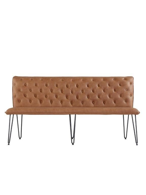 Eden Studded Back Bench 180Cm With Hairpin Legs - Tan