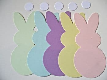 10 Bunny  pastel Coloured Rabbit Die Cut Shapes + circles