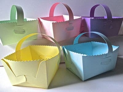 10 x Baskets Gift Box Assorted Pastel Coloured Card (1)