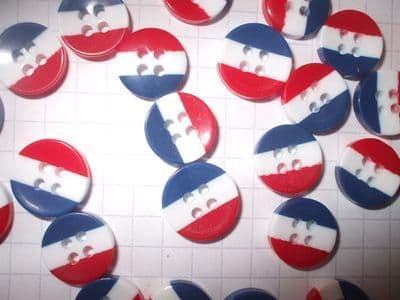 12mm Resin Red/White/Blue Striped Patriotic Jubilee Buttons