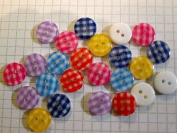 13mm Gingham Resin Buttons  x 24 Choice of colour