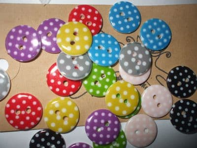 15mm Assorted Colours Polka Dot Resin Buttons  x 24