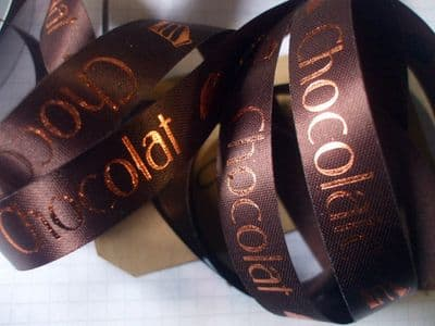 15mm dark brown Printed Ribbon Chocolate-Chocolat