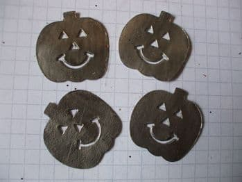 25mm Jack O'Lantern Pewter Stickers x 6 for Cardmaking and Scrapbooking.
