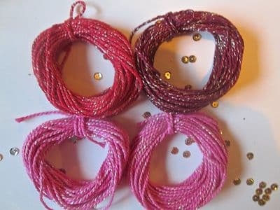 2mm Thick Cotton Bakers twine with Sparkle PINKS and REDS 5 or 10 metres