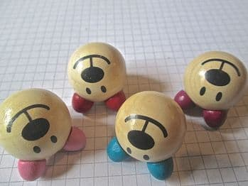 30mm Bear Face Wood Beads