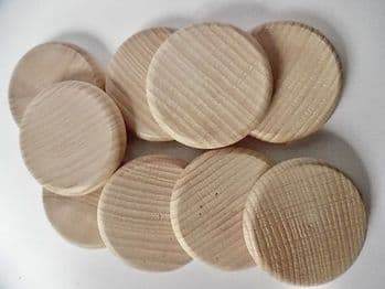 48mm x 8mm hardwood beech wood coins, counters peg dolls fairy garden game counters