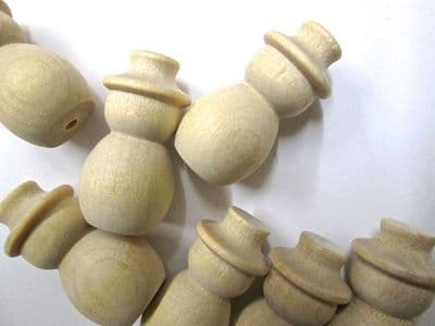 50 Small Wooden 3D Turned Snowman Figures