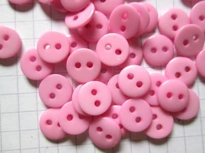 9mm Acrylic Pink Buttons x 50