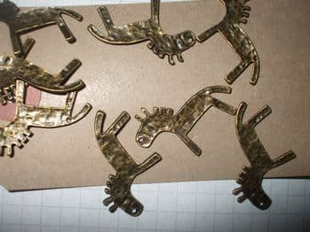 Bronze FOLK ART HORSE Charms x 10