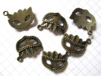 Bronze MASK Charms  22mm x 15mm
