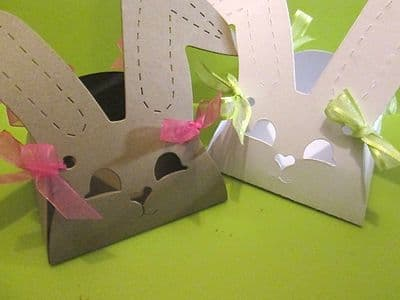 Bunny Rabbit Favour Box Recycled Card Perfect for Easter Eggs. Alice in Wonderland favour box