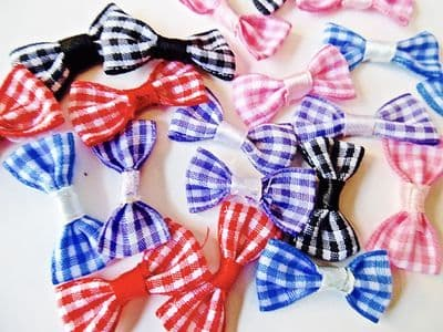 GINGHAM BOWS x 20  Choice of Colour